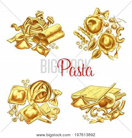 Pasta vector icons set of ravioli, lasagna or tagliatelle and spaghetti, durum hand crafted farfalle noodles, pappardelle macaroni or funghetto and penne with fettuccine pasta for Italian restaurant