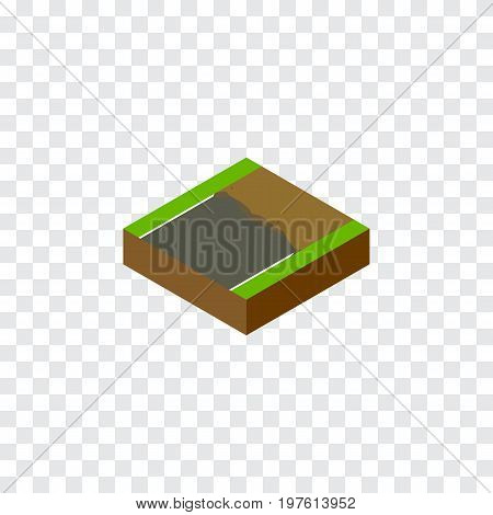 Unfinished Vector Element Can Be Used For Incomplete, Unfinished, Road Design Concept.  Isolated Incomplete Isometric.