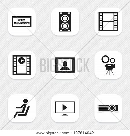 Set Of 9 Editable Movie Icons. Includes Symbols Such As Movie Camera, Megaphone, Start Video And More