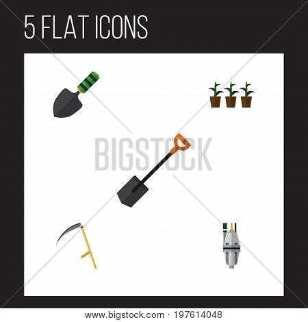 Flat Icon Garden Set Of Trowel, Pump, Flowerpot And Other Vector Objects