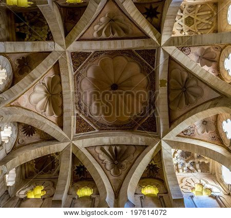 Intricate Trapezoidal Design With Flower Petals On The Ceiling Of The Msque Church In Cordoba, Spain