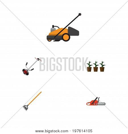 Flat Icon Dacha Set Of Grass-Cutter, Hacksaw, Lawn Mower And Other Vector Objects