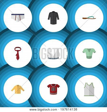 Flat Icon Clothes Set Of Cravat, Singlet, T-Shirt And Other Vector Objects