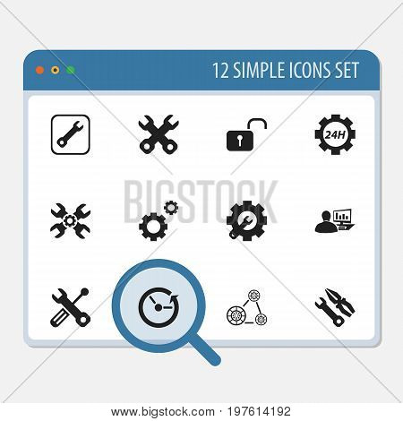 Set Of 12 Editable Mechanic Icons. Includes Symbols Such As Wrench Repair, Build Equipment, Computer Statistics And More