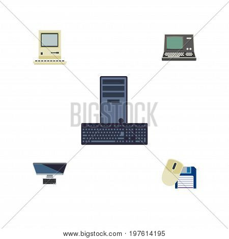 Flat Icon Computer Set Of Processor, PC, Computer Mouse And Other Vector Objects