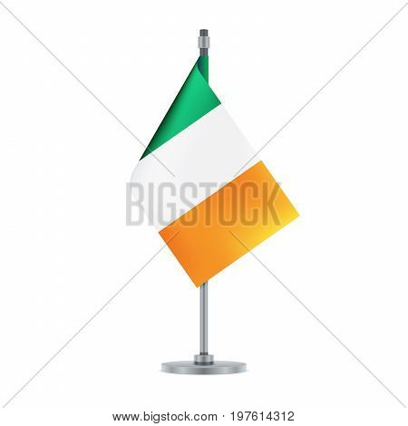 Irish Flag Hanging On The Metallic Pole, Vector Illustration