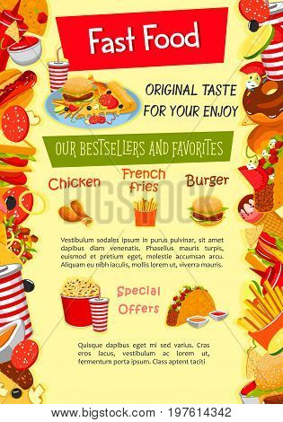 Fast food poster template of fastfood menu snack, burger and sandwich. Vector design of pizza, hot dog and cheeseburger or hamburger and ice cream dessert, french fries or tacos and chicken nugget