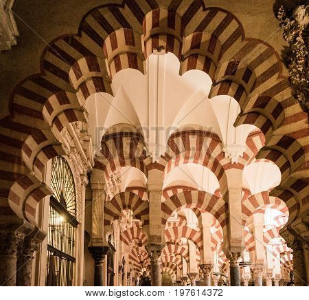 Pillars And Arches Inside The Mosque Church Of Cordoba, Spain, Europe