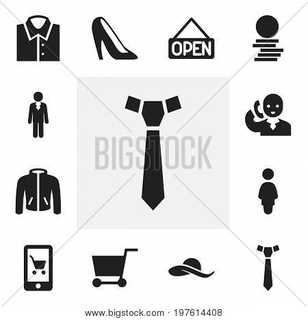 Set Of 12 Editable Shopping Icons. Includes Symbols Such As Job Person, Speech, Hard Money And More
