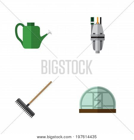 Flat Icon Dacha Set Of Harrow, Hothouse, Pump And Other Vector Objects