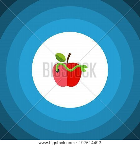Worm Vector Element Can Be Used For Worm, Rotten, Apple Design Concept.  Isolated Rotten Flat Icon.