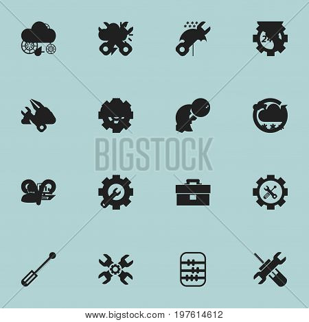 Set Of 16 Editable Tool Icons. Includes Symbols Such As Utility, Computer Statistics, Time And More