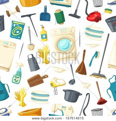 Housework seamless pattern of cleaning, mopping and laundry vector flat icons washing machine, broom or brush and soap detergent, vacuum cleaner or grater and saucepan, water bucket and dishware