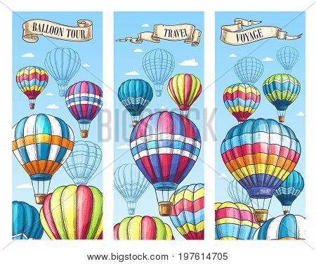 Hot air balloon travel tour banners set for voyage and festival or cloudhopper entertainment show. Vector balloons sketch design in zig zag, checkered and stripe pattern for tourism agency or vacation