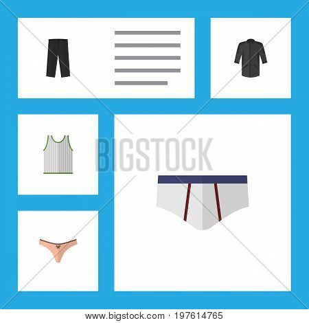Flat Icon Garment Set Of Uniform, Singlet, Pants And Other Vector Objects