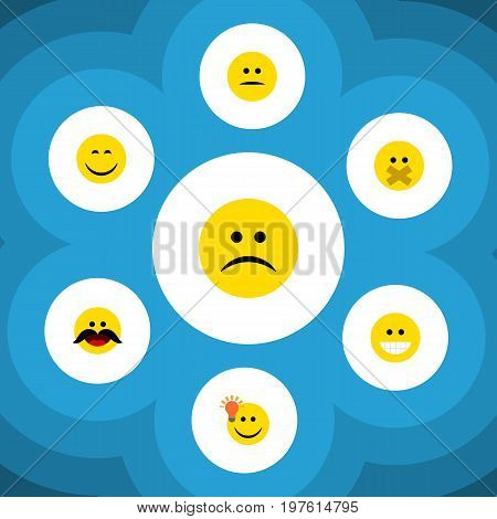 Flat Icon Expression Set Of Smile, Sad, Hush And Other Vector Objects