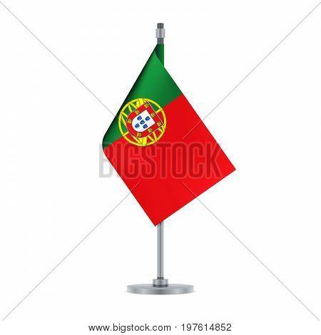 Portuguese Flag Hanging On The Metallic Pole, Vector Illustration