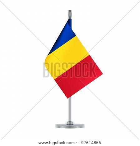 Romanian Flag Hanging On The Metallic Pole, Vector Illustration