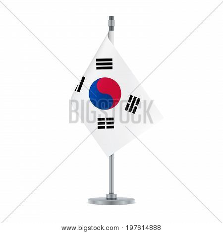 South Korean Flag Hanging On The Metallic Pole, Vector Illustration