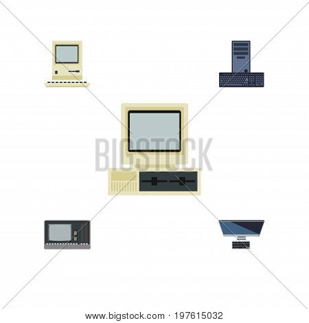 Flat Icon Computer Set Of PC, Computer, Vintage Hardware And Other Vector Objects