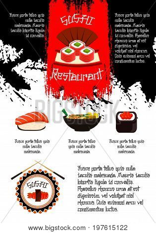 Sushi restaurant vector poster for Japanese cuisine of seafood noodles, sushi rolls or fish maki and eel guncans or salmon sashimi, tempura shrimp prawn on rice with miso soup and chopsticks for menu