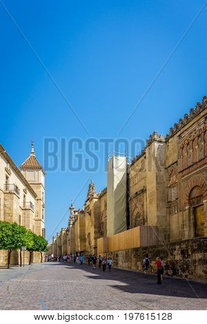 The Road Leading To The Entrance Of The Mosque Church In Cordoba, Spain, Europe