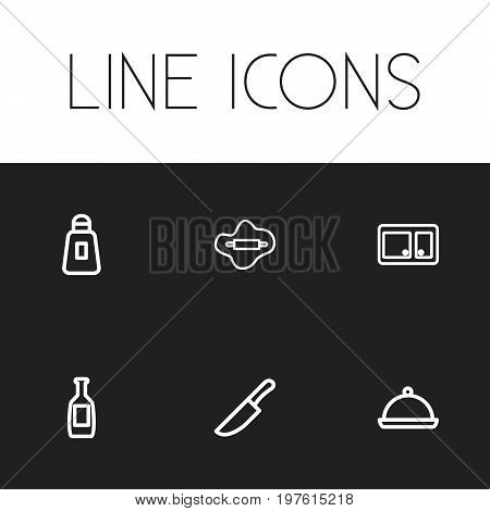 Set Of 6 Editable Cooking Outline Icons. Includes Symbols Such As Rolling Pin, Cupboard, Salt And More