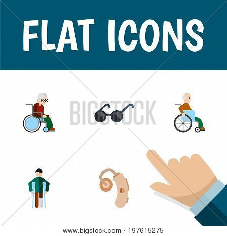 Flat Icon Cripple Set Of Spectacles, Handicapped Man, Injured Vector Objects