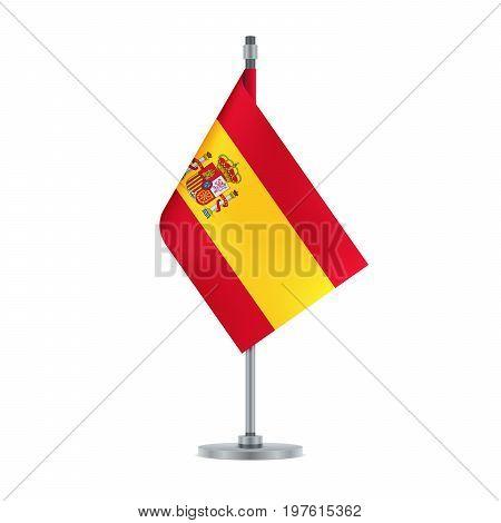 Spanish Flag Hanging On The Metallic Pole, Vector Illustration