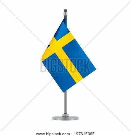 Swedish Flag Hanging On The Metallic Pole, Vector Illustration