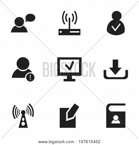 Set Of 9 Editable Internet Icons. Includes Symbols Such As Telephone Directory, Modem, Computer And More