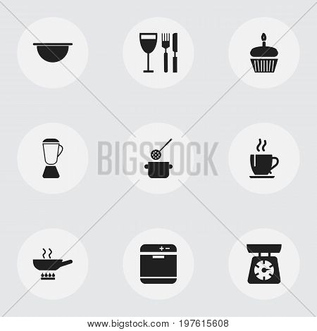 Set Of 9 Editable Kitchen Icons. Includes Symbols Such As Squeezer, Stove, Stewpot And More