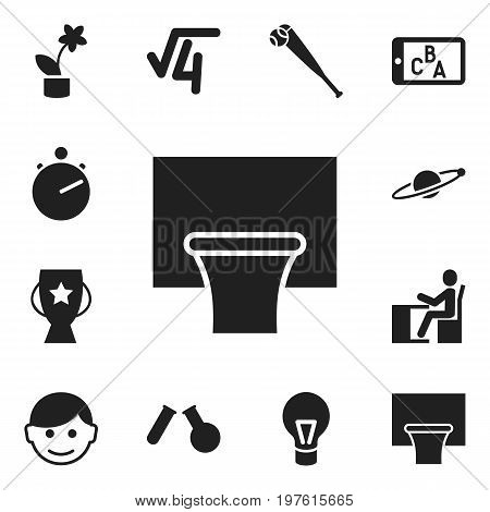 Set Of 12 Editable Education Icons. Includes Symbols Such As Phial, Bat, Chronometer And More