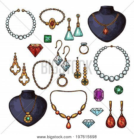Jewelry bijou fashion accessories of gemstones, golden or diamonds. Vector isolated icons of wedding golden ring, silver earrings with ruby or emerald, necklace or pendant and sapphire heart brooch