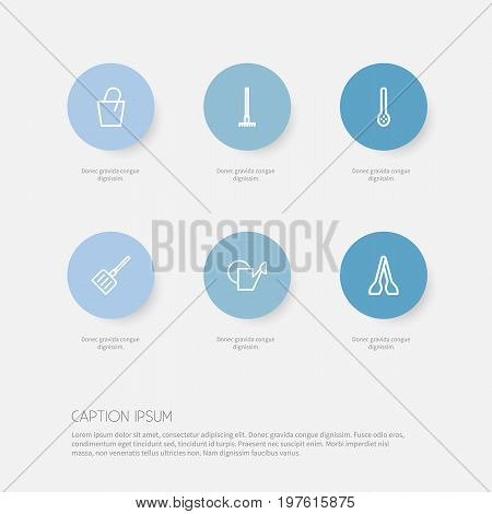 Set Of 6 Editable Instrument Outline Icons. Includes Symbols Such As Tongs, Watering Can, Pail And More