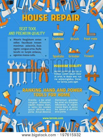 House repair poster of carpentry or handy construction work tools hammer, pliers or wrench and plastering spatula in toolbox, screwdriver or paint brush and saw or drill with ruler for home renovation