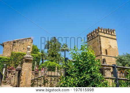 Ancient Ruins Of The Alcazar De Los Reyes Cristianos Castle At Cordoba, Spain, Europe
