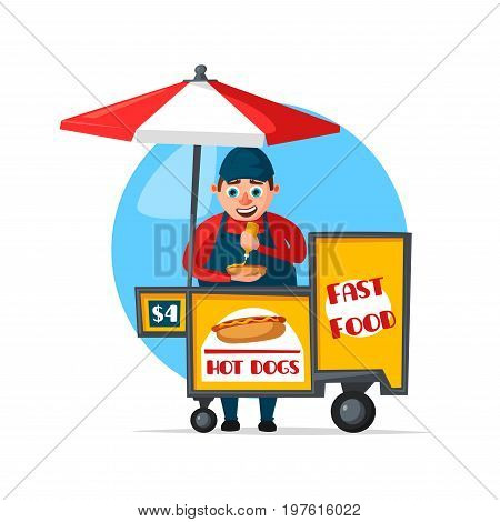 Street food or fast food hawker vendor truck of hot dog sandwiches or burgers. Vector flat icon of man seller on booth cart for Chinese, Mexican, Arabian or Turkish and Indian fastfood