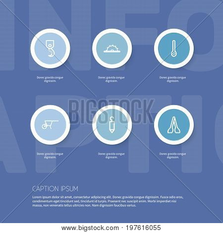 Set Of 6 Editable Equipment Outline Icons. Includes Symbols Such As Kitchen Spoon, Hook, Winch And More