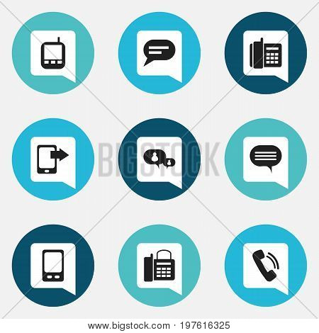 Set Of 9 Editable Gadget Icons. Includes Symbols Such As Chatting, Office Telephone, Mobile And More
