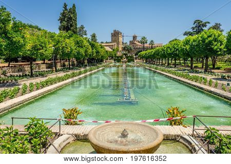 The Alcazar De Los Reyes Cristianos Castle Wih A Tower In The City Of Cordoba, Spain, Europe