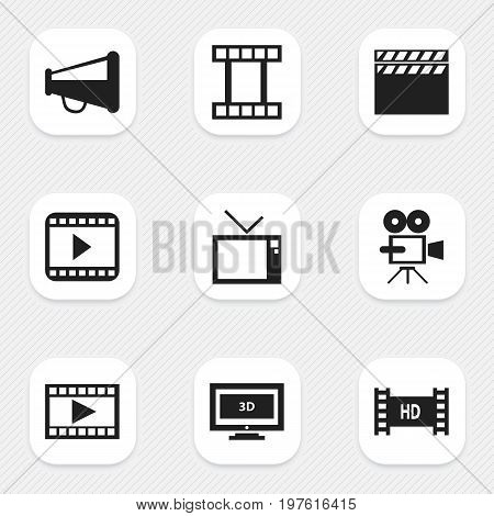 Set Of 9 Editable Movie Icons. Includes Symbols Such As Movie Player, Loudspeaker, Filmstrip And More