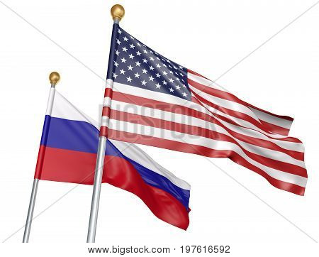 United States and Russia flags flying together for important diplomatic talks, 3D rendering