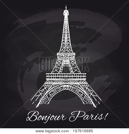 French chalkboard poster with Eiffel tower and decorative elements, vector illustration