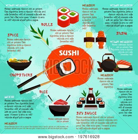 Sushi and Japanese seafood restaurant poster template for menu. Vector sushi rolls, salmon or tuna sashimi, sea food noodles and seaweed soup, eel maki and squid nigiri or tempura shrimp prawn and soy