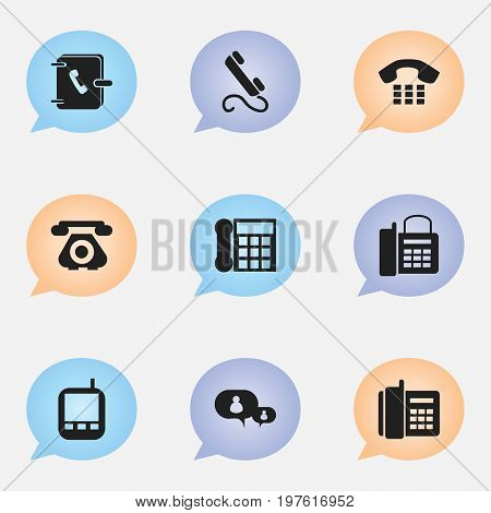 Set Of 9 Editable Device Icons. Includes Symbols Such As Transceiver, Call, Phone And More