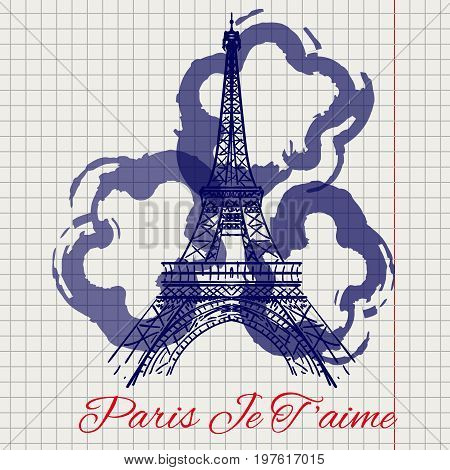 I love you Paris sketch on notebook page with Eiffel tower and abstract flowers. Vector illustration