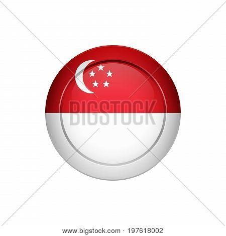 Singaporean Flag On The Round Button, Vector Illustration