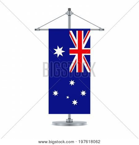 Australian Flag On The Metallic Cross Pole, Vector Illustration