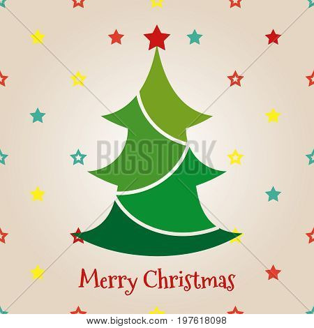 Colorful flat chrismas tree on stars background. Vector merry christmas back